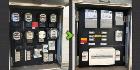 Electrical switchboard upgrade before and after shots